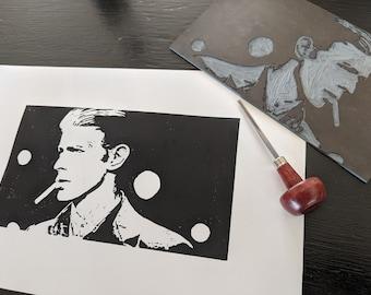 Starman - An original lino print of David Bowie