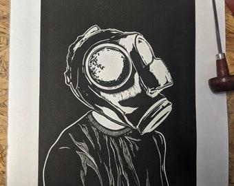 Anonym - An original limited edition lino print.