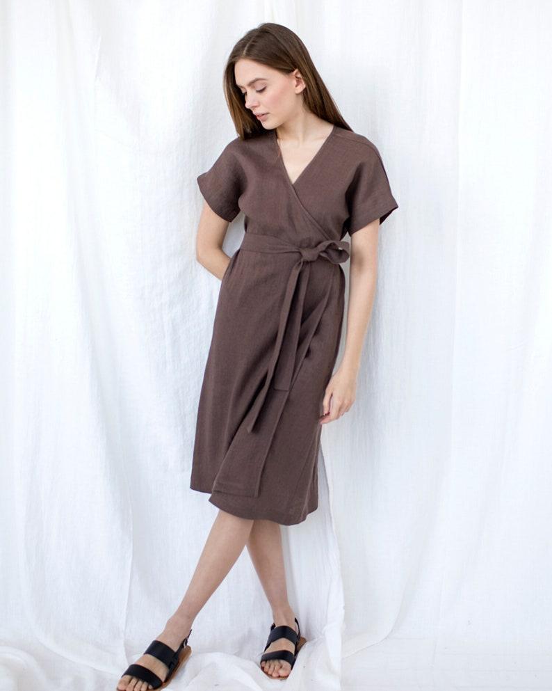 Pocket Natural Clothing Linen Chocolate Dress Linen Kimono Dress Baltic Linen Dress Plus Size Linen Wrap Dress Loungewear Dress