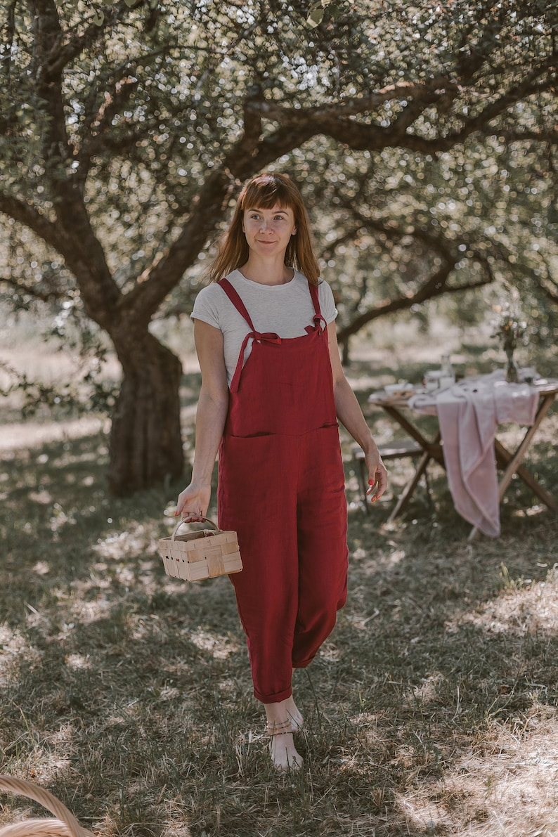 Cottagecore Clothing, Soft Aesthetic Red Linen Jumpsuit Linen Overall Minimalist Clothing Linen Dungarees Maternity Jumpsuit Bohemian Clothing Hippie Jumpsuit Beach $105.00 AT vintagedancer.com