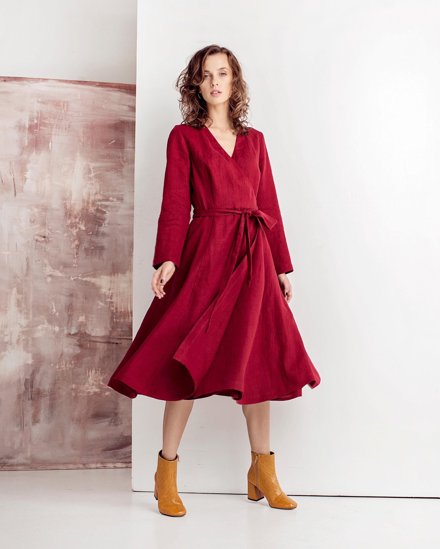 dress with kimono sleeves elegant dress Wedding guests linen dress tea lengths dress long sleeves linen dress midi length dress