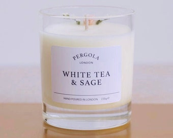 Candle Soy - White Tea Sage - Scented Soy Candle - Handmade Candle - Natural Candle - Vegan Candle -  Dried Flowers