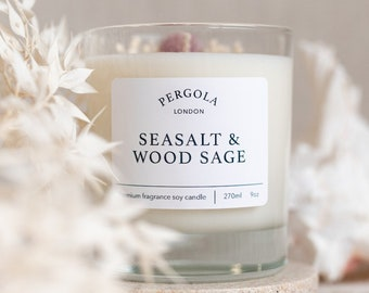 Candle Soy - Seasalt and Wood Sage - Scented Soy Candle  - Handmade Candle - Natural Candle - Vegan Candle - Dried Flowers