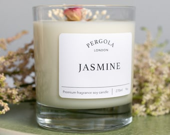 Candle Soy - Jasmine - Scented Soy Candle  - Handmade Candle - Natural Candle - Vegan Candle - Dried Flowers