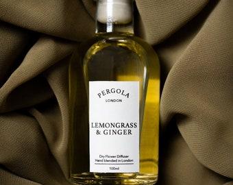 Diffuser Reed - Lemongrass & Ginger - Scented Diffuser  - Natural Diffuser - Vegan Diffuser - Dried Flowers