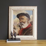 Vintage Oil Painting, Portrait Of A Dutch Fisherman With A Red Scarf, Vintage Portrait