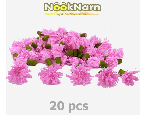 20 Mini Pink with Yellow Pollen Crepe Paper Flower Scrapbooking Craft Supply and Decor Bud or Blossom