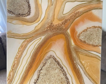 Gold and White Geode painting