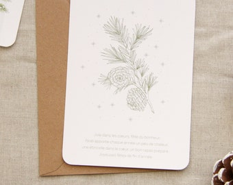 Pine cone card, Christmas card, party card