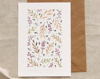 Autumn-winter maps, watercolor card leaves