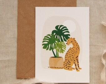 Cheetah and monsteras map