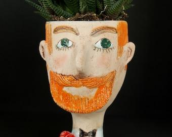 Retro man ceramic face planter pot, vintage interior head planter, unique man face mini vase, retro gentleman with red rose on the jacket