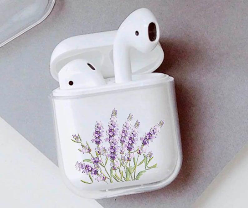 Wildflower purple Lavender Floral airpods plastic case apple image 0