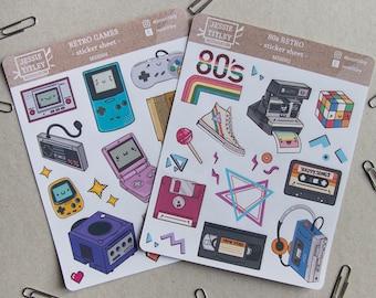Retro Sticker Set, 2 Vinyl Sticker Sheets
