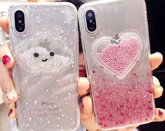 805f20fca0 Liquid Heart Glitter Powder Smile Face Clouds Phone Cases For iPhone X XR  XS Max 6 6S 7 8 Plus Ice Cream Soft Dynamic Back Cover