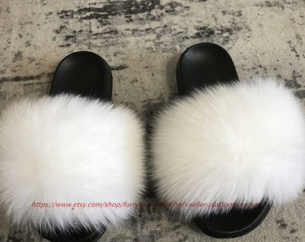 6043e9ae69aab Large Fur Women's Slippers Real Fox Fur White Fulffy Fur Slides Sandals  Slippers Fashion Shoes