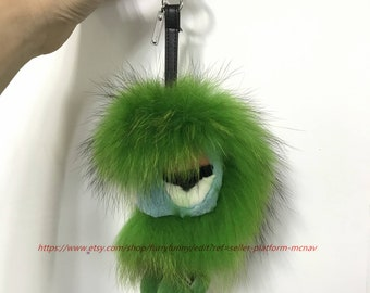 0af40bb20 Light green monster Real Raccoon Fur Bug with Foot Key Ring Keychain Bag  Charm Pendant