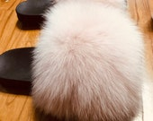 Max Large XXL fur Nude pink Real Fox Fur Slides beach Sandals fur Slippers Fashion summer Shoes