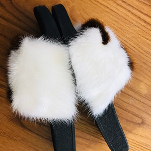 Black Multicolored Letter Mink Fur Slides Real Mink fur Sandals Summer beach Slippers Fashion Fur designer Shoes