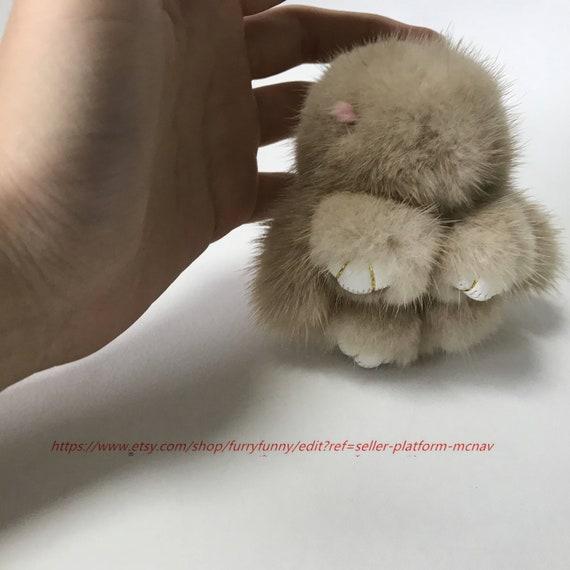 6 cm Gray Mini REAL Vison Fourrure de Lapin Bunny Sac de Téléphone Charm Pendentif Voiture Keychain
