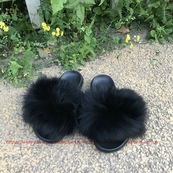 Large Fur Black Real Fox Fur Fulffy Fur Slides Sandals Slippers Fashion Shoes by Etsy