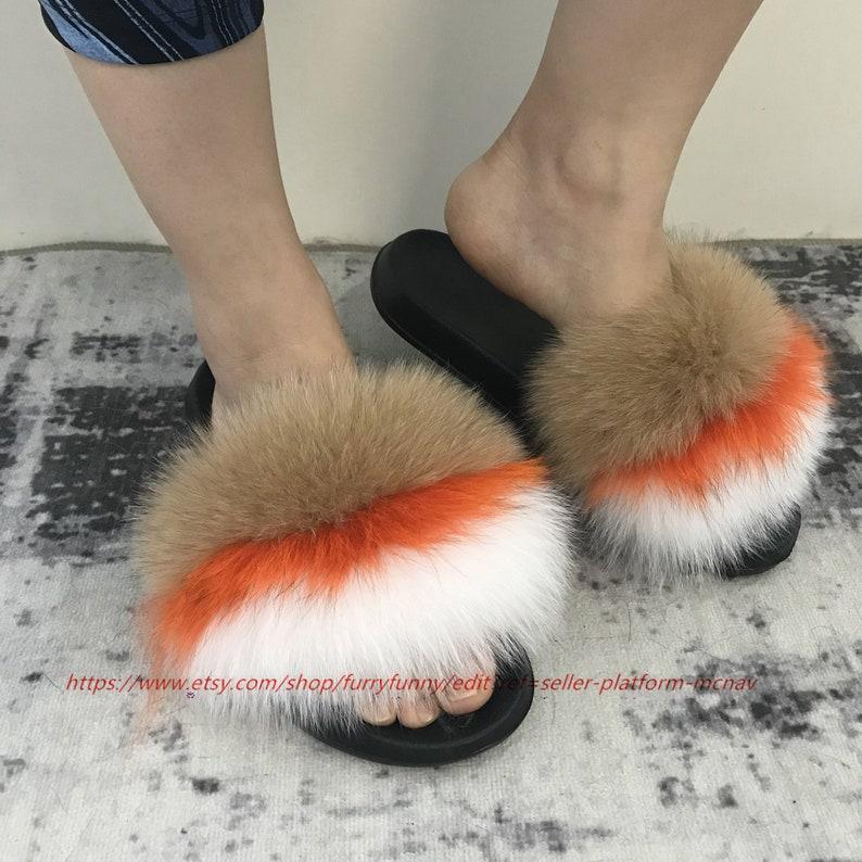 b48b8636f349d Fur Slides Real Fox Fur Large Fur Slides Khaki-Orange-White Sandals  Slippers Fashion Shoes