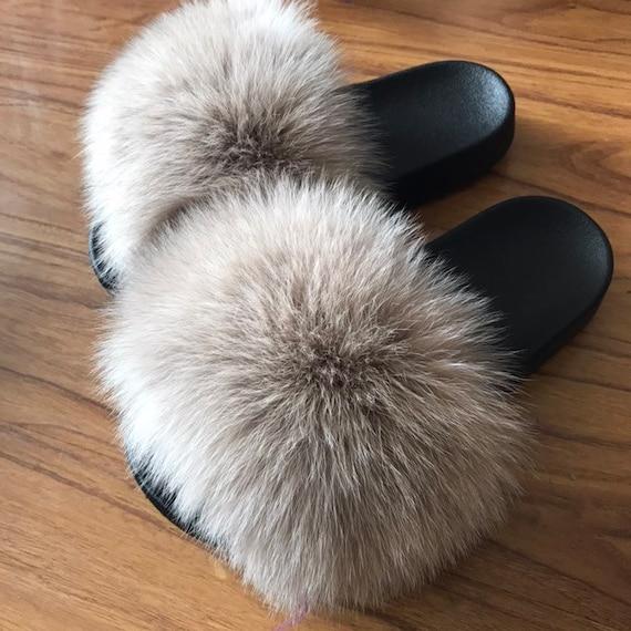 Creamy Khaki Real Fox Fur Slides Fluffy Fur Beach Sandals summer Slippers Fashion Shoes