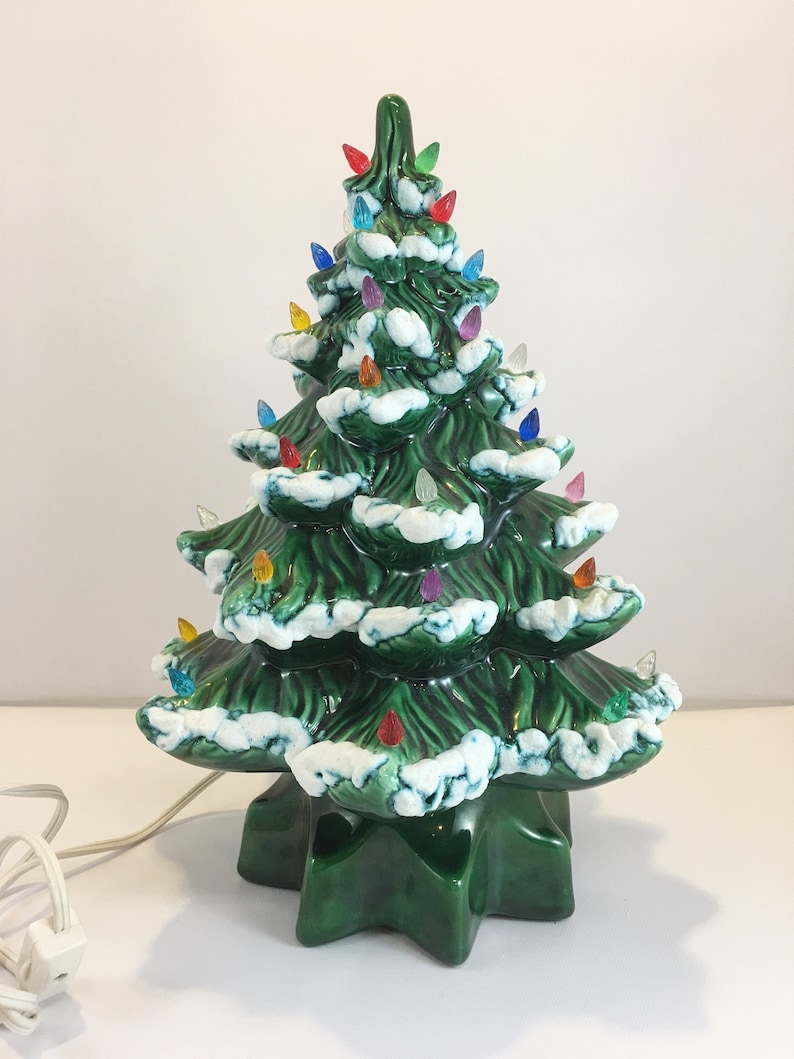 Vintage Ceramic Christmas Tree With Star Base Snow Lights