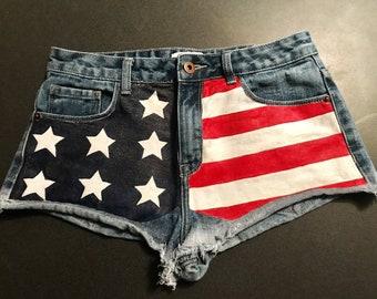 9de8d64d1e Faster horses USA flag jean shorts size 26