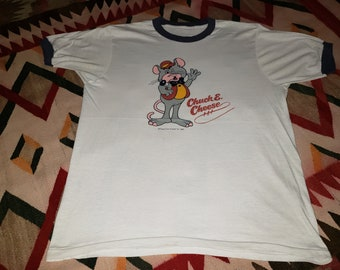 655e56482 Vintage 1981 Chuck E Cheese pizza restaurant rat mouse soft Paper Thin 80s  ringer tee t shirt 40 Medium
