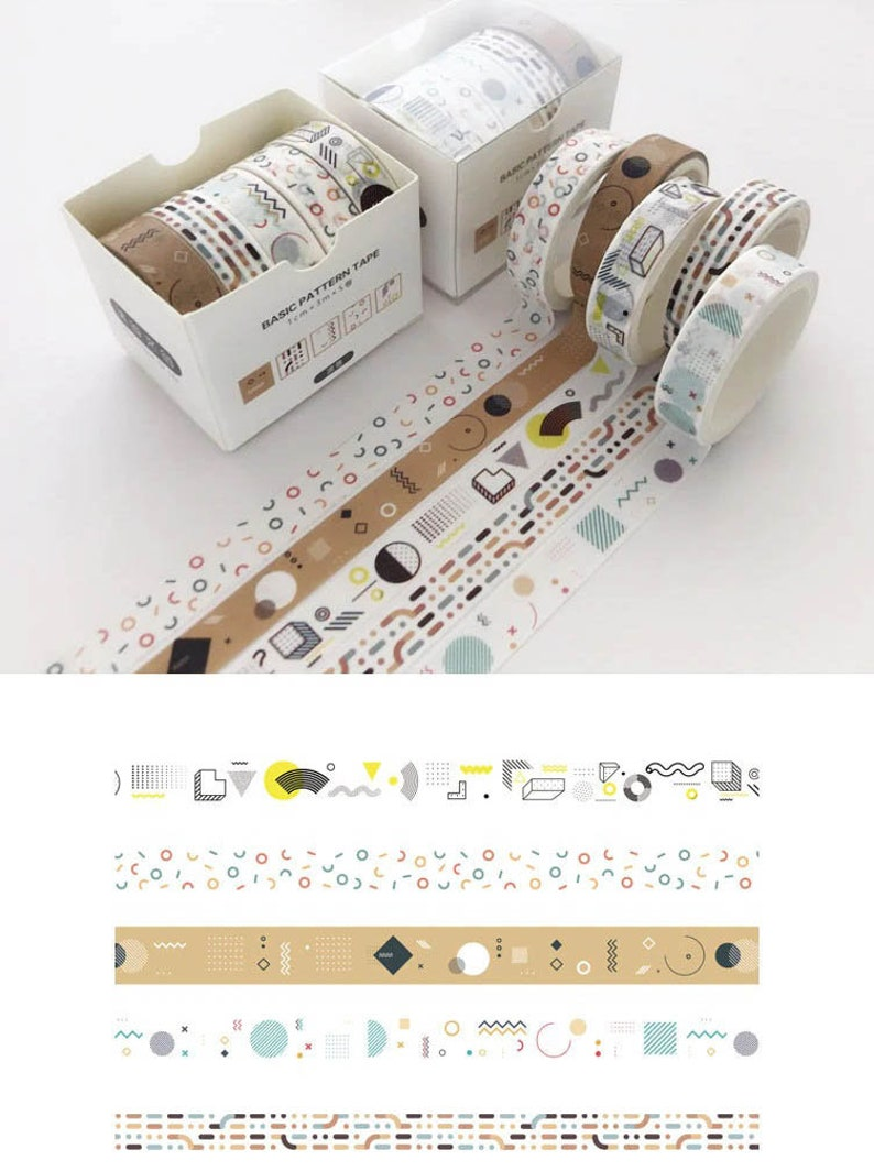 5x Washi Tapes Tapes 6 Pattern Penpal Journal Scrapbooking Decoration Notebook Planner Craft