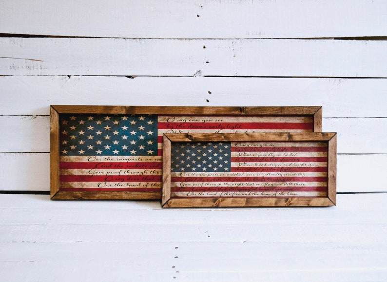 Star Spangled Banner American flag handmade wood sign for patriotic decor and 4th of July decorating idea.