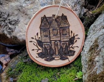Salem Witch House Wood Ornaments  - Witch,  Wiccan, , Gift, Wiccan, Pagan, Witch House ,Decor