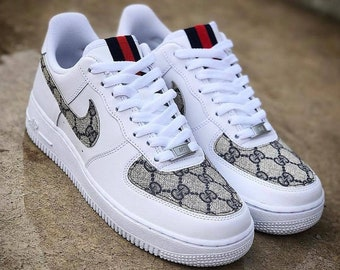 new arrival 7cab0 8cb6b Gucci Air Force 1, Nike Gucci Sneakers, Custom Gucci Air Force Ones, Black  Gucci Shoes, White Gucci Sneaker