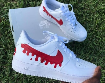 best loved c837b 4dde0 White Nike Air Force 1, Red Dripping Swoosh Sneakers, White Mens Nike  Sneakers, Customized SNeakers for Men, Customized White Nike Trainers