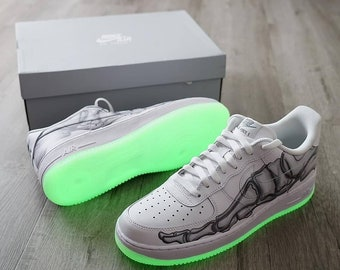 half off 8ba8a b2ec1 Mens Nike Air Force 1, White Mens Glow in the Dark Sneakers, Skeleton  Sneakers, Customized Sneakers for Men, White Nike Trainers
