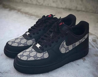 new arrival b7aef 70e92 Gucci Air Force 1, Nike Gucci Sneakers, Custom Gucci Air Force Ones, Black  Gucci Shoes, White Gucci Sneaker
