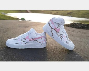 finest selection fa8fc f7116 Customized Nike Air Force 1 Trainers, Cherry Blossom Sneakers, Custom  Sneakers, Custom Floral Nike Trainers