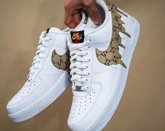 best authentic 44b50 6cfdc Customized Gucci Trainers for Men, Mens Nike Air Force 1, White Mens Gucci  Sneakers, Customized Sneakers for Men, White Nike Trainers
