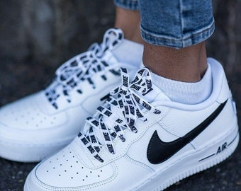 newest 0fa61 48989 Black and White Air Force 1 Trainers, Customized Nike Trainers, Black and  White Custom Kicks