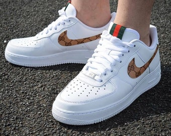 competitive price 63b14 8f9cb Mens Nike Air Force, Nike Gucci Sneakers, Custom Gucci Air, White Gucci  Shoes, Customized Sneakers for Men