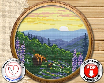 Shenandoah National Park Cross Stitch Embroidery PDF Pattern Download, Modern Embroidery, Landscape Embroidery, Needlecraft Pattern #P140