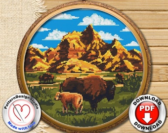 Badlands National Park #P123 Cross Stitch Embroidery PDF Pattern Download | Stitching | Cross Stitch Embroidery | Cross Designs |Needlepoint