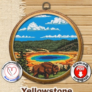 Embroidery Pattern Kit Fabric Yellowstone National Park Square K466 Counted Cross Stitch KIT#3 Embroidery Hoop and 4 Printed Color Schemes Inside Threads Needles