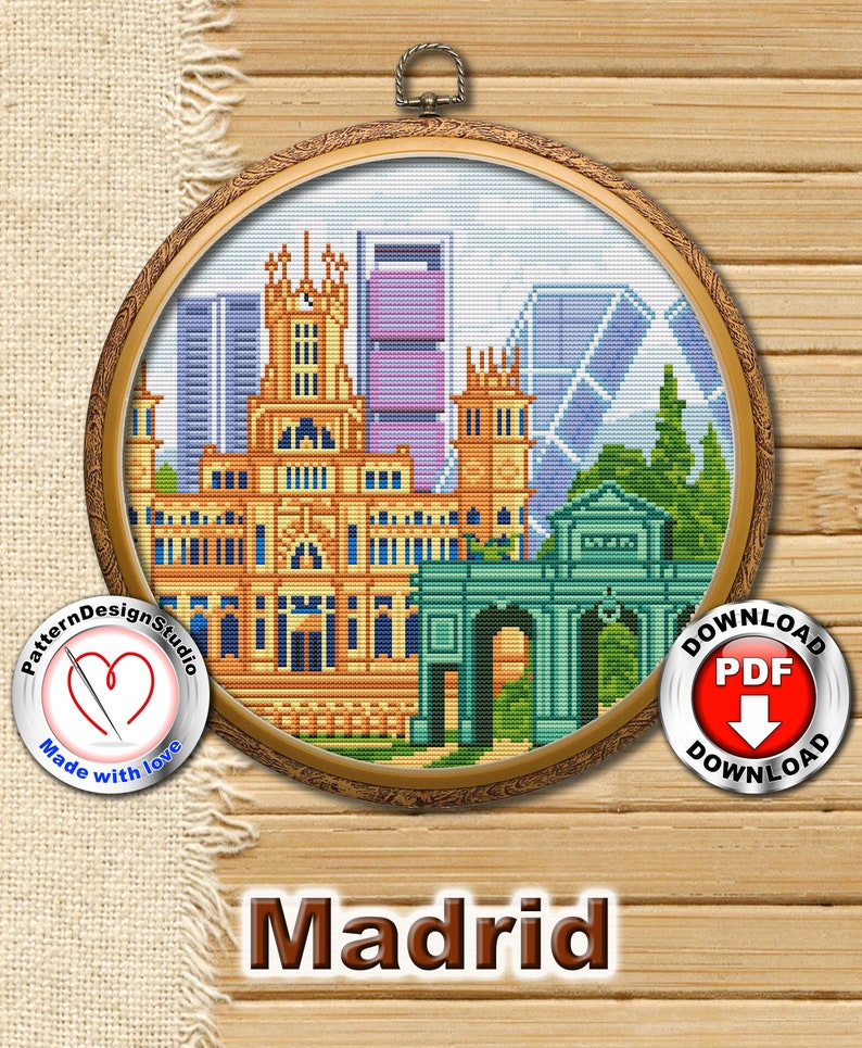 Madrid P38 Hand EmbroideryCross Stitch Embroidery Pattern image 0