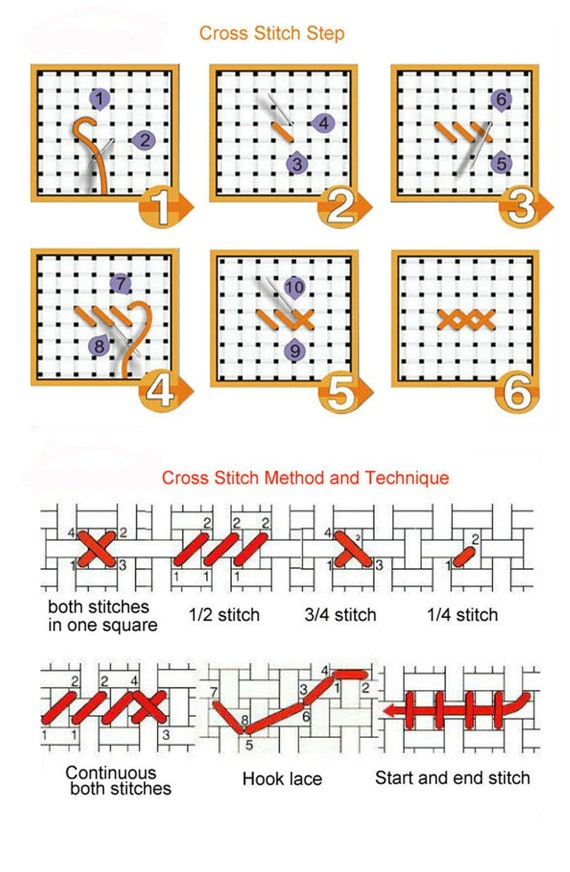 Four Cross Stitch Patterns Continuous Designs 1-4