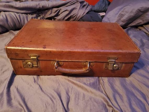 Vintage Leather Brass Latch Suit Case