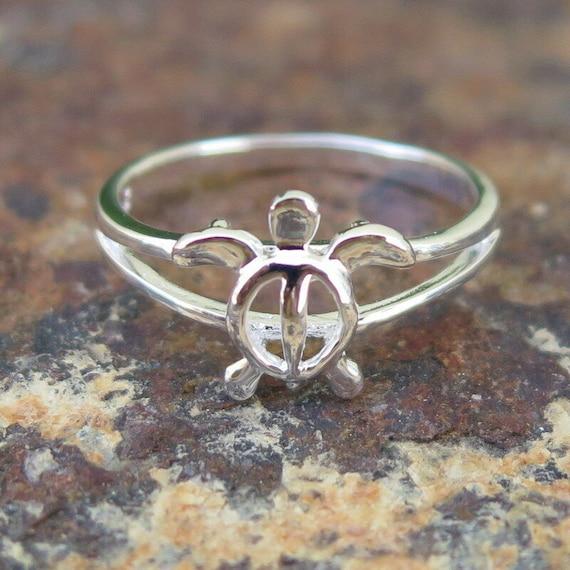 Hawaiian Genuine 925 Sterling Silver Honu Turtle Stud Post Pair One Tone Earring