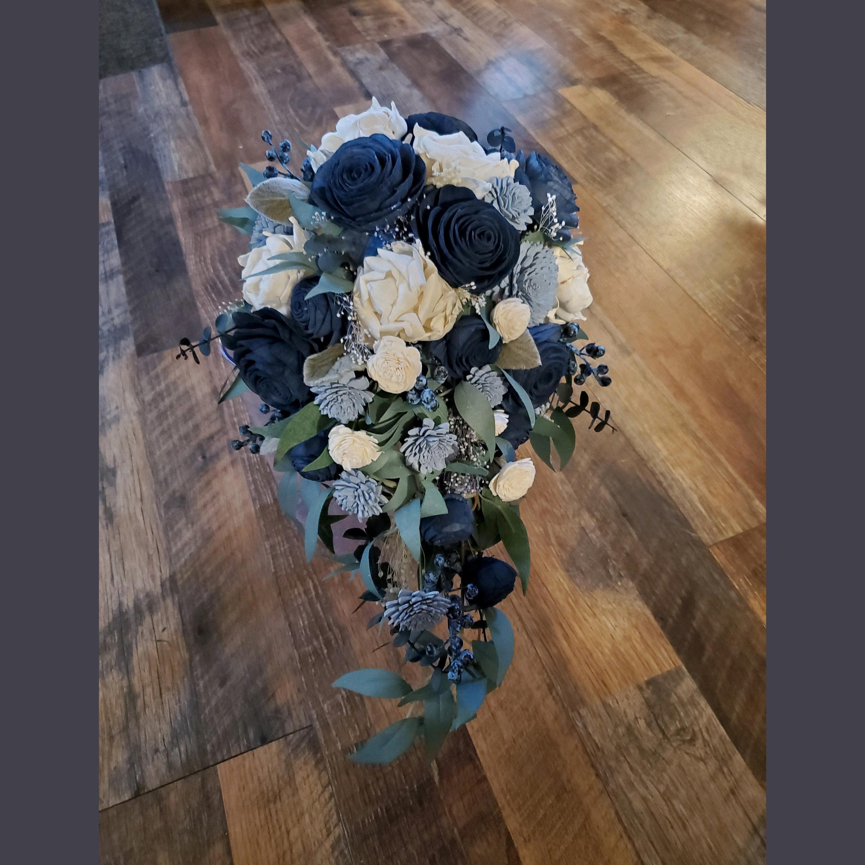 Artificial Flowers Sola Wood Flower Bridal Bouquet Sola Wood Rose and Peony Bridal Bouquet with Lambs Ear and Eucalyptus Spring Wedding