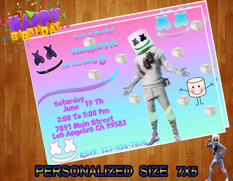 Marshmello Invitation Marshmello Birthday Invitation Marshmello Invitations Size 7x5 Or 6x4